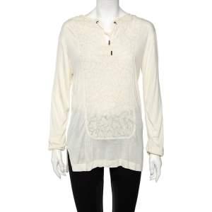 Roberto Cavalli Cream Textured Cotton Jersey Top L