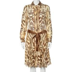 Roberto Cavalli Beige Leopard Print Silk Belted Dress S