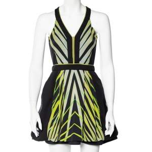 Roberto Cavalli Black Printed Knit Sleeveless Dress S