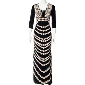 Roberto Cavalli Black Pearl Print Jersey Brooch Detail Maxi Dress S