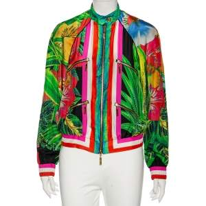 Roberto Cavalli Multicolored Tropical Print Silk Bomber Jacket S