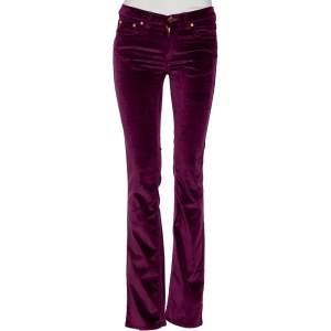 Roberto Cavalli Purple Velvet  Buttoned Pants S