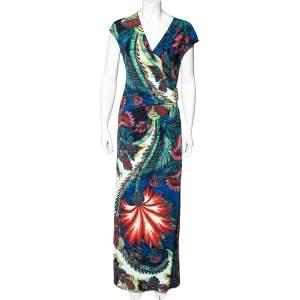 Roberto Cavalli Multicolor Printed Jersey Faux Wrap Maxi Dress L