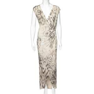 Roberto Cavalli Beige Printed Jersey Ruch Detail Sleeveless Maxi Dress M
