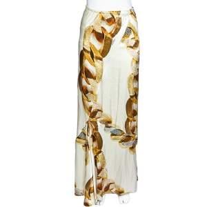 Roberto Cavalli Cream Gold Chain Print Silk Satin Maxi Skirt L