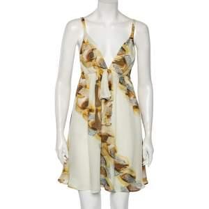 Roberto Cavalli Off White Chain Printed Silk Sleeveless Mini Dress M