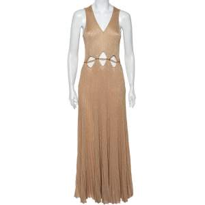 Roberto Cavalli Gold Rib Lurex Knit Waist Cut Out Detail Evening Dress S