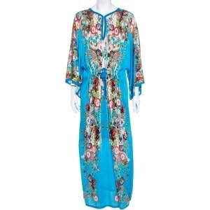 Roberto Cavalli Blue Floral Printed Knit Waist Tie Detail Kaftan M