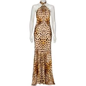 Roberto Cavalli Brown Animal Printed Silk Satin Halter Neck Dress M