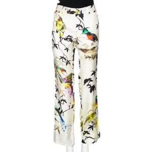 Roberto Cavalli Multicolored Bird Print Silk Twill Contrast Trim Detailed Trousers M