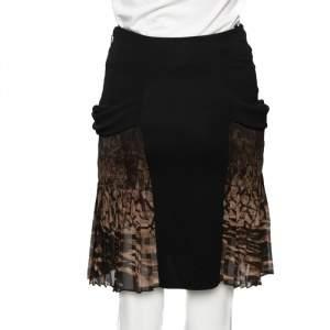 Roberto Cavalli Black Jersey & Printed Silk Paneled Skirt S