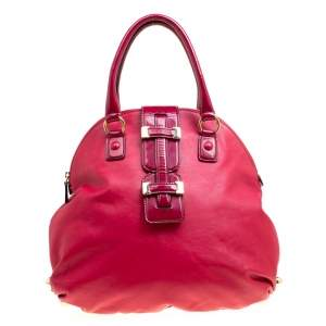Roberto Cavalli Red Leather Dome Satchel