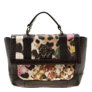 Roberto Cavalli Brown/Multicolor Leather and Printed Fabric Top Handle Bag