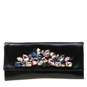 Roberto Cavalli Black Crystal Embellished Leather Chain Clutch
