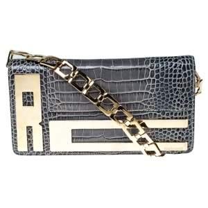 Roberto Cavalli Ash Blue Crocodile Embossed Leather Logo Chain Clutch
