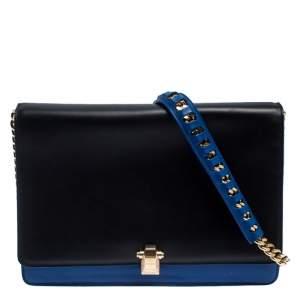 Roberto Cavalli Black/Blue Leather Hera Ayers Shoulder Bag