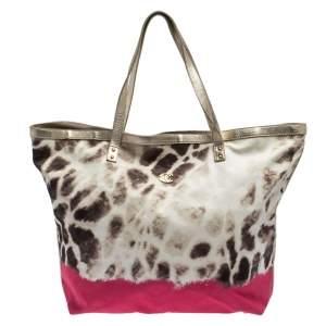 Just Cavalli Beige/Pink Printed Fabric Shopper Tote