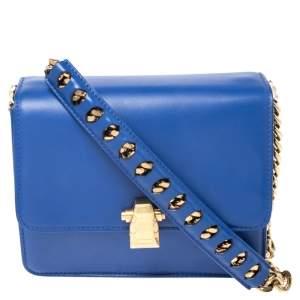 Roberto Cavalli Blue Leather Milano Flap Shoulder Bag