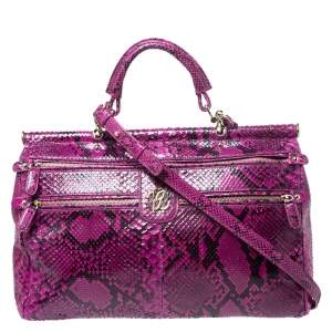 Roberto Cavalli Purple Python Doctor Diva Shoulder Bag