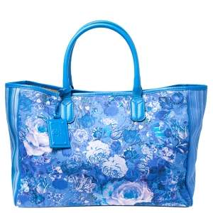 Roberto Cavalli Blue Floral Print Canvas and Leather Tote