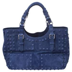 Roberto Cavalli Blue Suede Red Lining Tote