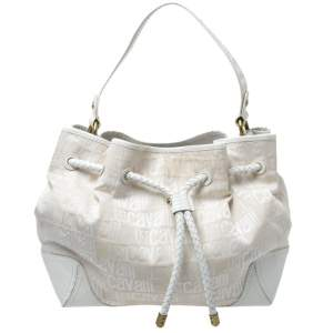 Roberto Cavalli Off White Canvas and Leather Hobo