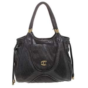 Just Cavalli Black Chain Link Leather Large Tote