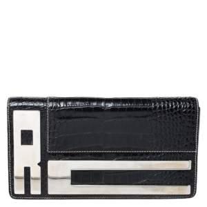Roberto Cavalli Black Crocodile Embossed Leather Logo Chain Clutch