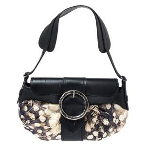 Roberto Cavalli Black/Cream Printed Satin and Leather Round Buckle Flap Hobo