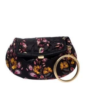 Roberto Cavalli Multicolor Floral Printed Satin Frame Bracelet Clutch