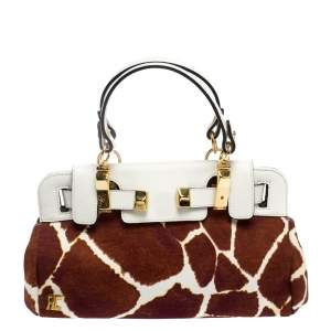 Roberto Cavalli Brown/White Printed Canvas and Leather Satchel