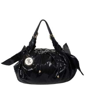 Roberto Cavalli Black Sequin Bow Drawstring Hobo