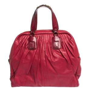 Roberto Cavalli Red Pleated Leather Chain Detail Handle Satchel