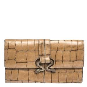 Roberto Cavalli Caramel Brown Crocodile Embossed Leather Double Snake Flap Wallet