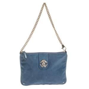 Roberto Cavalli Blue Leather Pochette Bag