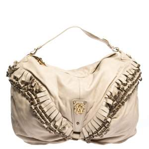 Roberto Cavalli Cream Leather Studded Fringe Hobo