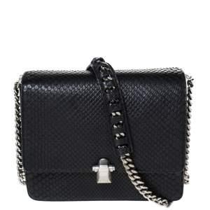 Roberto Cavalli Black Python Hera Flap Shoulder Bag
