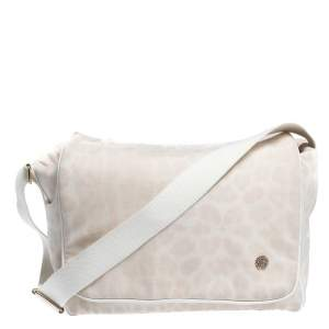 Roberto Cavalli Light Cream Leopard Print Cotton Flap Messenger Bag