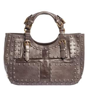 Roberto Cavalli Grey Leather Studded Satchel