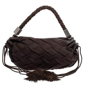 Roberto Cavalli Dark Brown Pleated Fabric and Leather Tassel Hobo