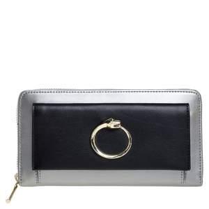 Roberto Cavalli Grey/Black Leather Panther Zip Around Wallet