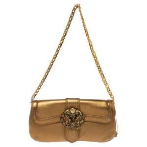 Roberto Cavalli Gold Leather Snake Metal Flap Baguette Shoulder Bag
