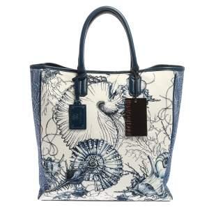 Roberto Cavalli Blue/White Printed Canvas and Leather Shopper Tote