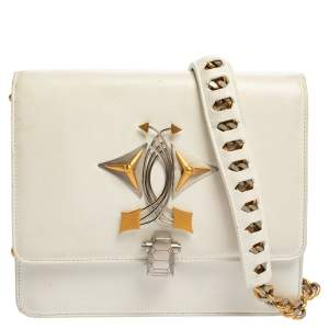 Roberto Cavalli White Leather Flap Shoulder Bag