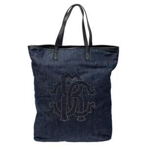 Roberto Cavalli Navy Blue Denim Studded Logo Tote