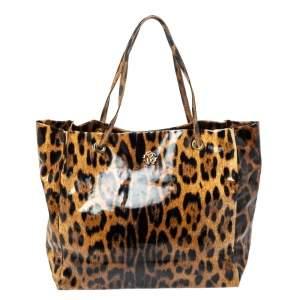 Roberto Cavalli Brown/Black Leopard  Print Patent Leather Tote