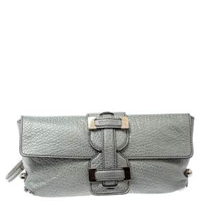 Roberto Cavalli Silver Grained Leather Metal Flap Clutch