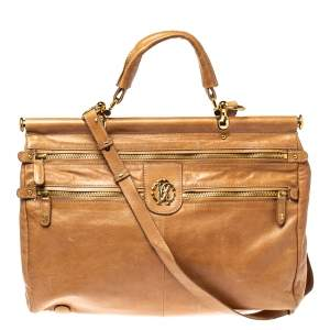 Roberto Cavalli Tan Leather Multiple Pocket Top Handle Bag