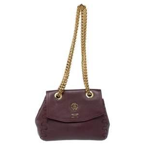 Roberto Cavalli Burgundy Leather Chain Shoulder Bag