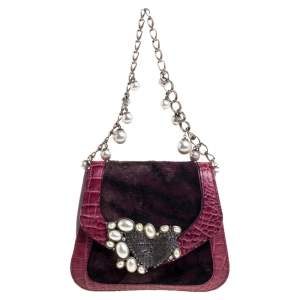 Roberto Cavalli Purple Fur and Croc Embossed Leather Pearl Embellished  Chain Clutch
